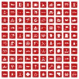 100 delivery icons set grunge red. 100 delivery icons set in grunge style red color isolated on white background vector illustration Vector Illustration