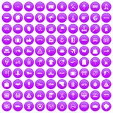 100 delivery icons set purple. 100 delivery icons set in purple circle isolated on white vector illustration Stock Photos