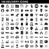 100 delivery icons set, simple style. 100 delivery icons set in simple style for any design illustration vector illustration