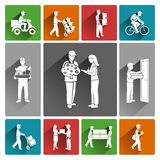 Delivery icons white Royalty Free Stock Photo