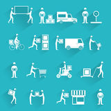 Delivery icons white set Stock Photography
