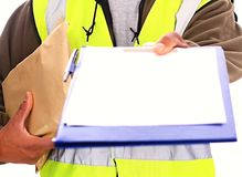 Delivery. Image of a delivery man at work Stock Photos