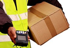 Delivery. Image of a delivery man at work with a device Stock Photo
