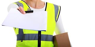 Delivery. Image of a delivery woman at work Royalty Free Stock Photography