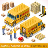 Delivery 06 Infographic Isometric. Delivery Service Chain Elements Collection. NEW bright palette 3D Flat Vector Icon Set. Yellow box pakage worldwide shipping Stock Image