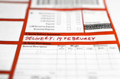 Delivery instructions: 14 February Royalty Free Stock Photos