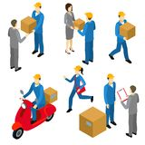 Delivery Isometric Characters Set Royalty Free Stock Image