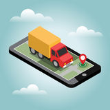 Delivery isometric 3d. Truck with cargo. Online mobile shopping. Sale delivery shopping concept Royalty Free Stock Images
