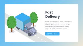 Delivery isometric landing page vector template. Shipping goods by truck, delivery service, shipment website layout vector illustration