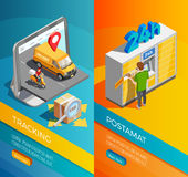 Delivery Isometric Vertical Banners Stock Images