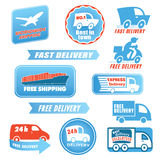 Delivery labels. Set of delivery badges. Blue and red shipping signs collection. Labels illustration vector isolated on white background. Worldwide shipping, 24h Stock Photos