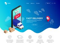 Delivery landing with phone, icons vector illustration