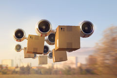 Delivery of a large number of goods by air Royalty Free Stock Images