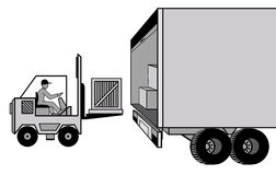 Delivery and loading of cargo by car and loader at Stock Photos