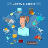 Delivery and logistic concept, cartoon style Royalty Free Stock Image