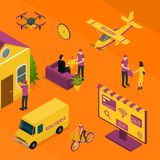 Delivery Logistic Service Concept 3d Isometric View. Vector royalty free illustration