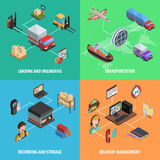 Delivery And Logistic Square Isometric Icon Set Royalty Free Stock Photos