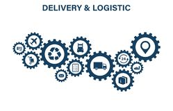 Delivery and Logistics concept. Express Delivery. Web icon set. Logistic, service, shipping, distribution, transport stock photography