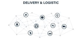 Delivery and Logistics concept. Express Delivery. Web icon set. Logistic, service, shipping, distribution, transport royalty free stock photo