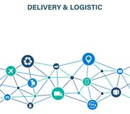 Delivery and Logistics concept. Express Delivery. Web icon set. Logistic, service, shipping, distribution, transport stock image