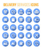 Delivery and logistics services flat round web icons stock illustration