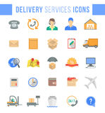 Delivery and logistics services flat web icons Royalty Free Stock Images