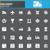 Delivery and logistics vector icons set, modern solid symbol collection, filled white pictogram pack. Signs, logo illustration. Set includes icons as shipping Royalty Free Stock Images