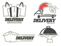 Delivery logo templates set for post mail, food or onlne shop express delivery service. stock illustration