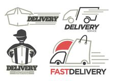 Delivery logo templates set for post mail, food or onlne shop express delivery service. royalty free illustration