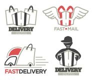 Delivery logo templates set for post mail, food or onlne shop express delivery service. Royalty Free Stock Photos