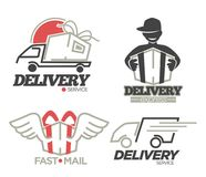 Delivery logo templates set for post mail, food or onlne shop express delivery service. vector illustration