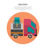 Delivery Lorry Driving Fast Design Flat Royalty Free Stock Photo