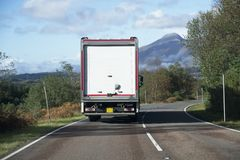 Delivery lorry from supermarket online shopping living travelling and working in remote countryside location and rural Scottish is royalty free stock images