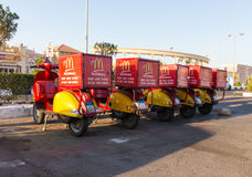 Delivery of Mac Donalds. SHARM EL SHEIKH, EGYPT - APRIL 17, 2015: Parking mopeds for delivery of Mac Donalds in the city of Sharm El Sheikh Stock Images