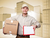Delivery man. At work and 3d container sepia background Stock Images