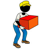 Delivery man. Silhouette-man at work - delivery man holding a big parcel Stock Photos