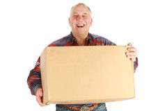 Delivery Man. Holding big box on white background stock photography