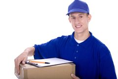Delivery man. Carrying cardboard box Stock Photography