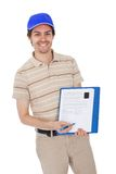 Delivery man asking to sign delivery confirmation Stock Photography