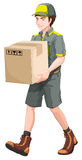 A delivery man with a big box Stock Images