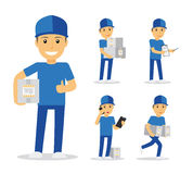 Delivery man in blue uniform Stock Images