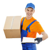 Delivery man with box and cardboard Stock Image