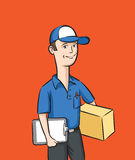 Delivery man with box and clipboard Stock Photos