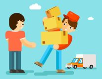 Delivery man with boxes and car gives package to Stock Images