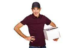 Delivery man with boxs isolated over white background. Royalty Free Stock Photos