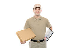 A delivery man bringing a package Royalty Free Stock Image
