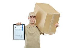 A delivery man bringing a package Stock Photos