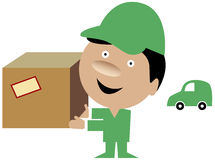 Delivery man bringing a package. Cartoon of a delivery man in uniform bringing a package Stock Photos