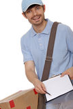 Delivery man bringing package Royalty Free Stock Photography