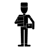 Delivery man with cap box and clipboard pictogram Royalty Free Stock Photos